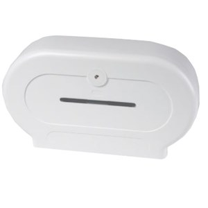 White Plastic Twin Roll Mini Jumbo Dispenser (BC594W)