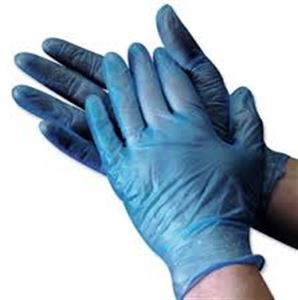 Powdered Blue Disposable Vinyl Gloves Click Cleaning Uk