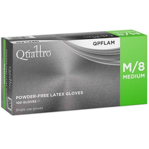 Quattro Latex Powder Free Gloves 5.7g (Box of 100)