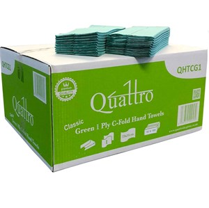 Quattro Super Soft Green 1ply C-fold Hand Towels (16x180) QHTCG1