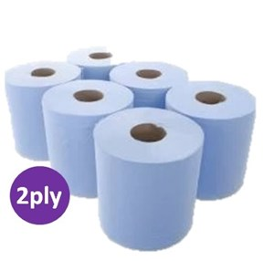 Blue 2ply Centrefeed Roll (6 x 150m)