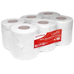 Quattro White Embossed Centrefeed 175mm x 150m (Pack of 6) QCF2W150