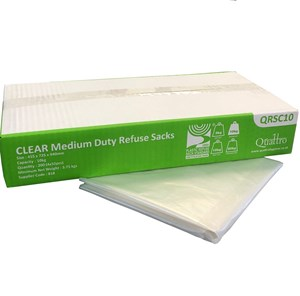 "Clear CHSA Medium Duty Refuse Sacks 10kg 29"" x 39"" (200) QRSC10"