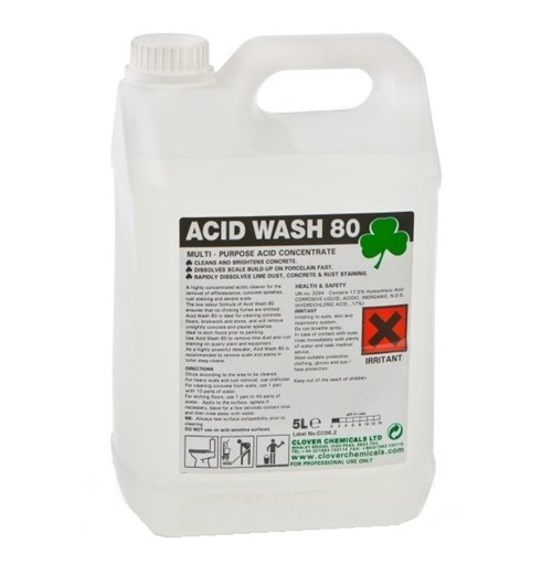 Acid wash 80 extra high strength acidic descaler 5litre for Hydrochloric acid for cleaning concrete