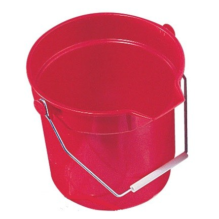 Red Round 10 litre Bucket with large pouring lip