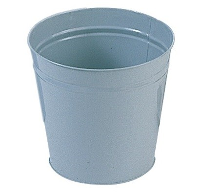 Round Grey Metal Waste Bin