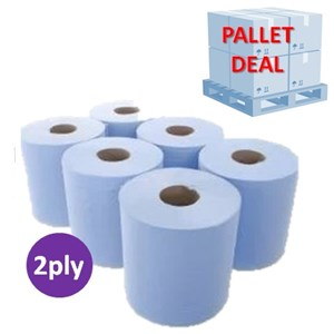 PALLET - Blue 2-Ply Centrefeed 18cmx150m (50 cases)