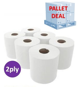 PALLET White 2ply Embossed Centrefeed 150m (50 cases)