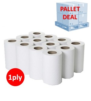 PALLET White 1ply Mini Centrefeed Rolls (54 cases)
