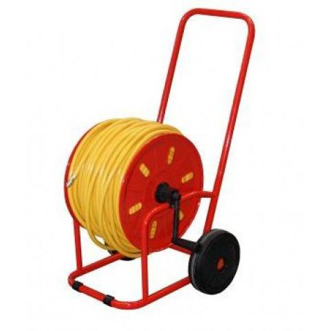 metal wheeled hose reel with 100 metre 6mm microbore hose and
