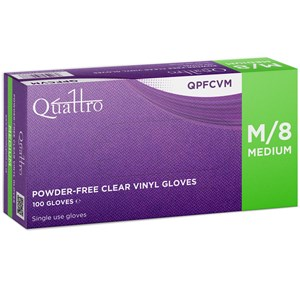 Quattro Vinyl Clear Powder Free Gloves 4.0g (Box of 100)