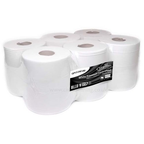 Quattro White Premium 2ply Centrefeed Rolls 230mm x 80m (Pack of 6) QPCF2W180