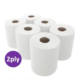 White Premium 2ply Centrefeed Rolls (CWH450) 23cmx180m (6 rolls)