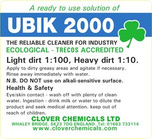 Ubik 2000 Trigger Spray Label (RTU)