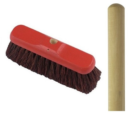 "Stiff Bassine Broom 11"" with Handle"