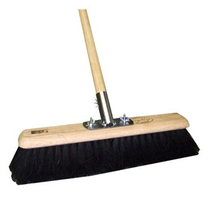 "11"" Black Coco Soft Sweeping Broom with Handle"