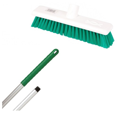 "Abbey 12"" Soft Broom - Green (complete with handle)"