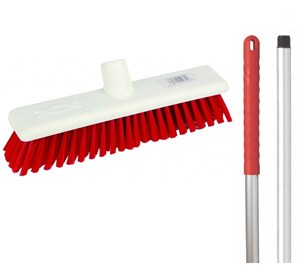 "Abbey 12"" Stiff Broom - Red (complete with handle)"