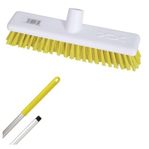 "Abbey 12"" Stiff Broom - Yellow (complete with handle)"