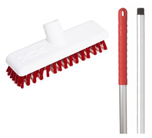 "Abbey 9"" Deck Scrub - Red (complete with handle)"