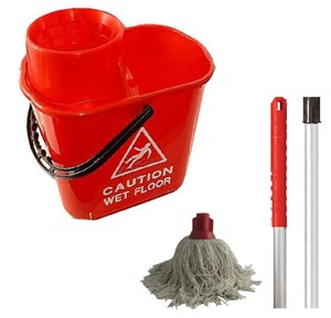 Red Professional Bucket and PY Mop