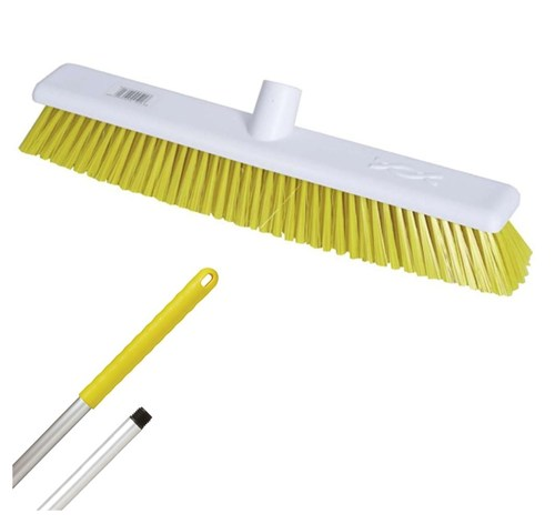 "Abbey 18"" Stiff Broom - Yellow (complete with handle)"