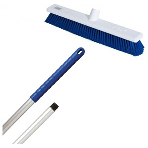 "Abbey 18"" Stiff Broom - Blue (complete with handle)"
