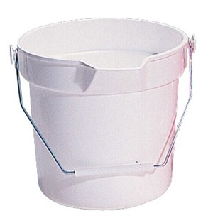 White Round 10 litre Bucket with large pouring lip