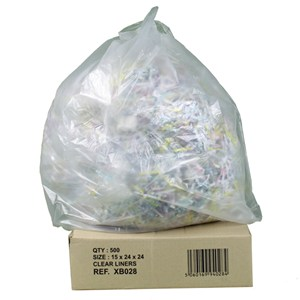 "Clear Square Bin Liners 24"" x 24"" (500)"