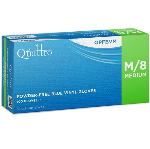 Quattro Vinyl Blue Powder Free Gloves (box of 100)
