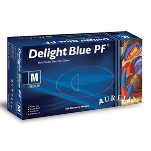 Vinyl Blue Powder Free Gloves 4.5g (box of 100)