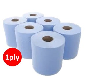 Blue 1ply Centrefeed Roll (6 x 300m)
