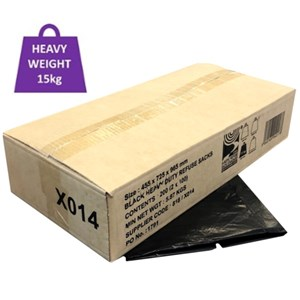 Black CHSA Heavy Weight 15kg Sacks 725x965mm (200) (X014)