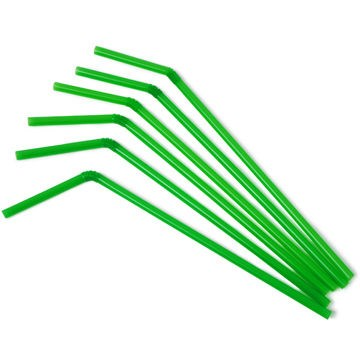 250 Green Biodegradable Bendy Straws 8-inch