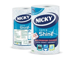 Nicky Super Shine 3ply Premium Jumbo Kitchen Roll (6 rolls)