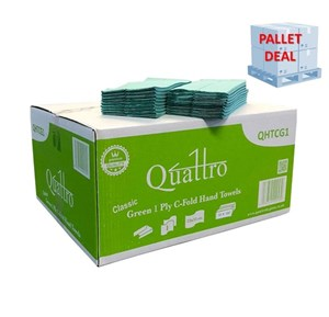 PALLET Quattro Super Soft Green 1ply C-fold Hand Towels (42 cases)