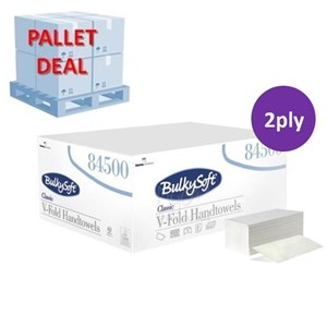 PALLET Bulky Soft 84500 Classic 2ply V-fold Hand Towel (35 cases)