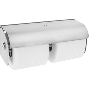 Dolphin Stainless Steel Lockable Twin Toilet Roll Dispenser (BC267)