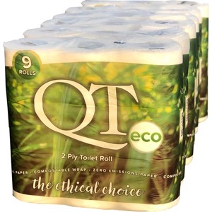 QT Eco 2ply Toilet Roll with a compostable wrapper (54 rolls) QTE2P