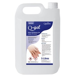 Q-Gel Hand Sanitising 70% Alcohol Gel with moisturiser 5litre (QAHG5L) Passes EN 4476
