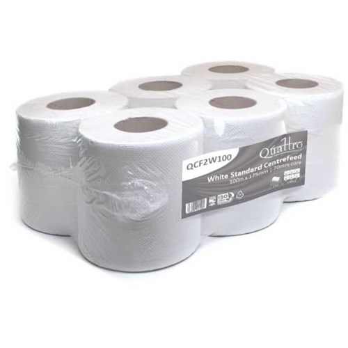 Quattro White Embossed Centrefeed 17.5cm x 100m (Pack of 6) QCF2W100