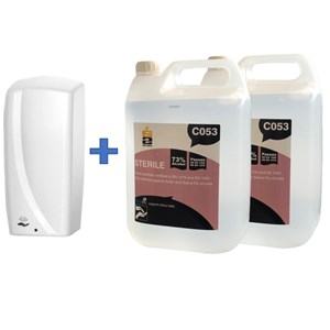 Auto Sanitiser Spray Dispenser & 2 x 5litre Sterile Alcohol Hand Sanitiser