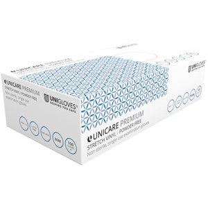 Unicare Premium Stretch Vinyl Powder Free Gloves (Box of 100)