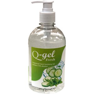 Q-Gel Fresh Cucumber & Mint Hand Sanitising Gel 70% alcohol 500ml (single)