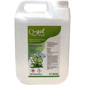 Q-Gel Fresh Cucumber & Mint Hand Sanitising Gel 70% alcohol 5litre
