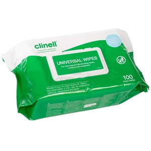 Clinell Universal Wipe 26x18cm Pack of 100 (BCW100)